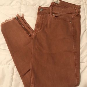 Burnt Orange/red Crop Jeans